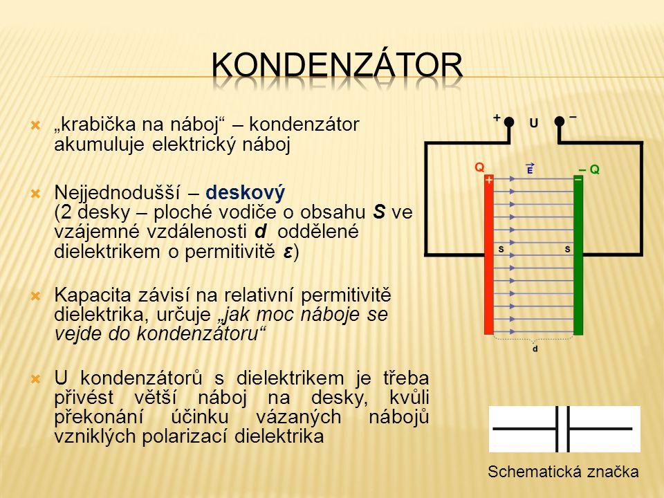 """kondenzátor """"krabička na náboj – kondenzátor akumuluje elektrický náboj."""