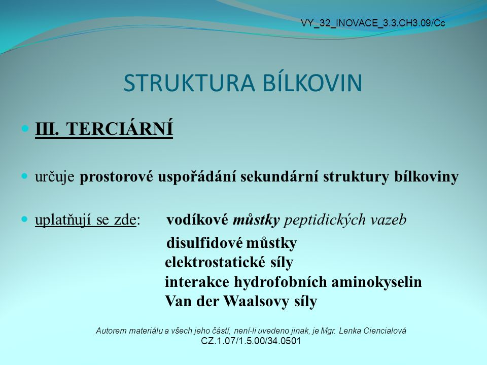 STRUKTURA BÍLKOVIN III. TERCIÁRNÍ