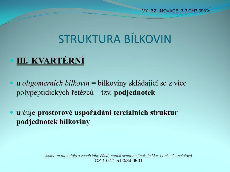 STRUKTURA BÍLKOVIN III. KVARTÉRNÍ