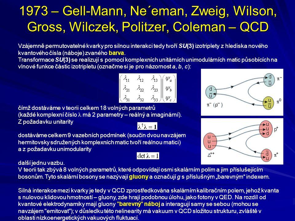 1973 – Gell-Mann, Ne´eman, Zweig, Wilson, Gross, Wilczek, Politzer, Coleman – QCD