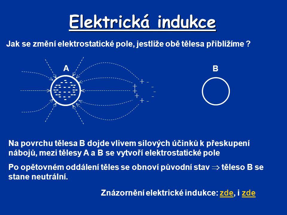 Elektrická indukce Jak se změní elektrostatické pole, jestliže obě tělesa přiblížíme A. B. - -- --