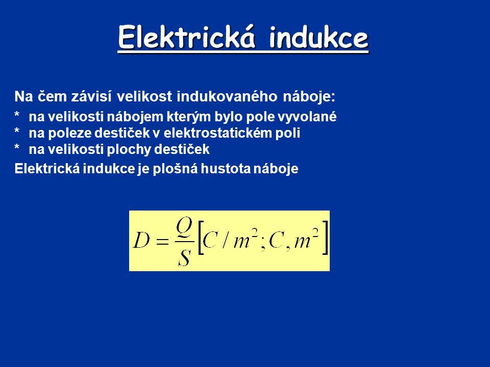 Elektrická indukce Na čem závisí velikost indukovaného náboje: