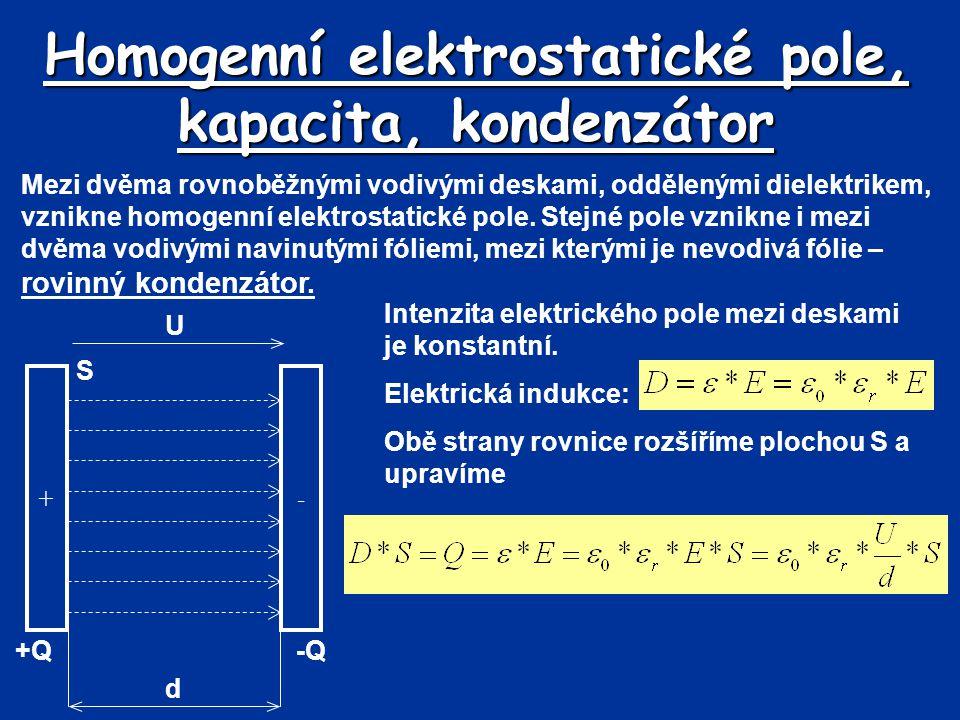 Homogenní elektrostatické pole, kapacita, kondenzátor