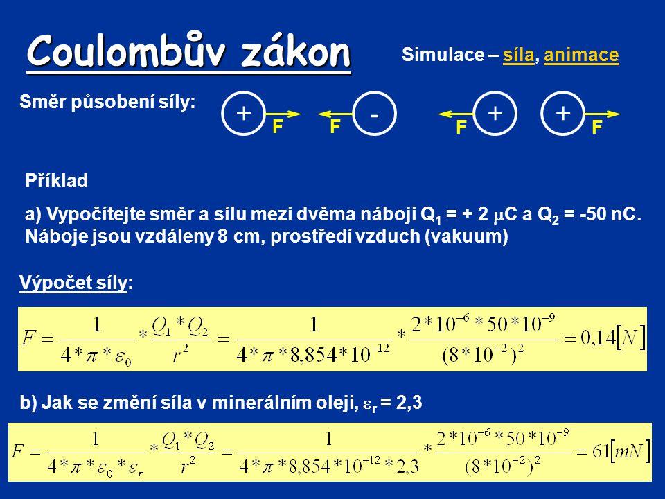 Coulombův zákon + - + + Simulace – síla, animace Směr působení síly: F