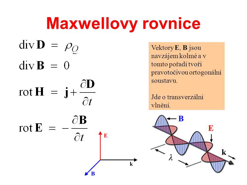 Maxwellovy rovnice Vektory E, B jsou navzájem kolmé a v tomto pořadí tvoří pravotočivou ortogonální soustavu.