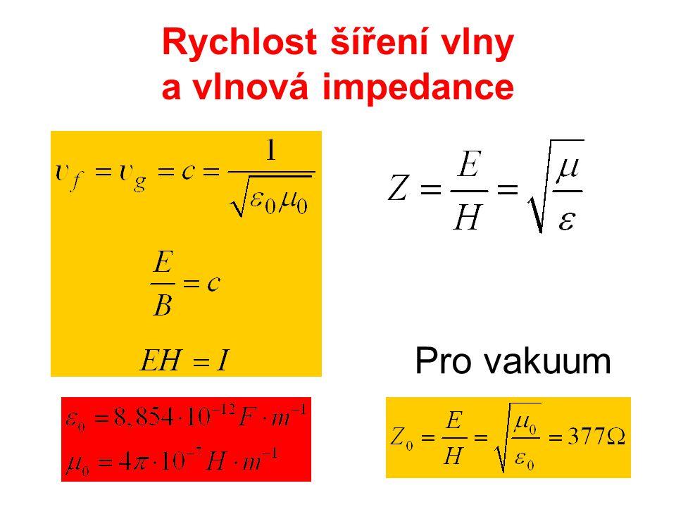 Rychlost šíření vlny a vlnová impedance