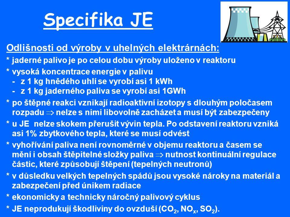 Specifika JE Odlišnosti od výroby v uhelných elektrárnách: