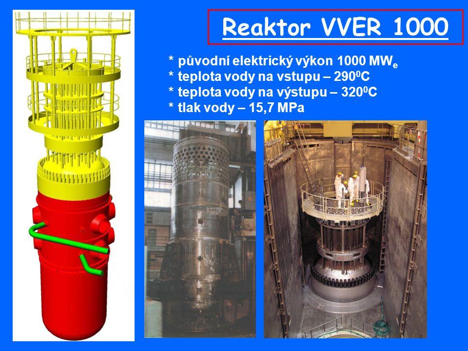 Reaktor VVER 1000 * původní elektrický výkon 1000 MWe