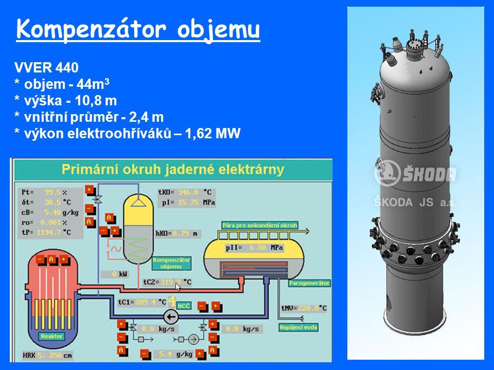 Kompenzátor objemu VVER 440 * objem - 44m3 * výška - 10,8 m