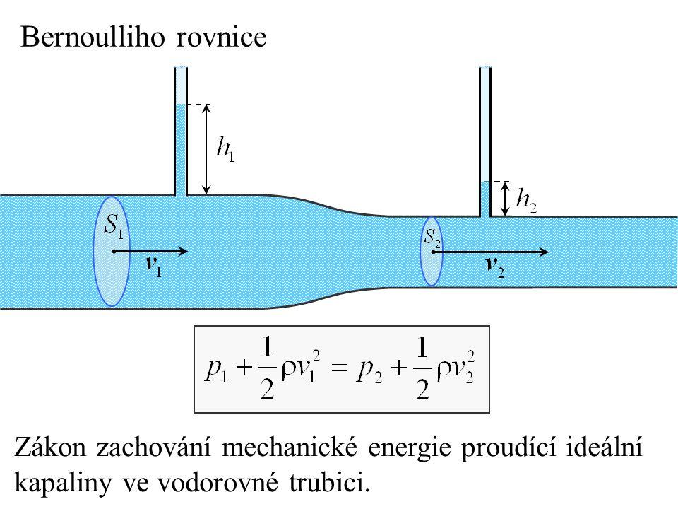 Bernoulliho rovnice Zákon zachování mechanické energie proudící ideální. kapaliny ve vodorovné trubici.