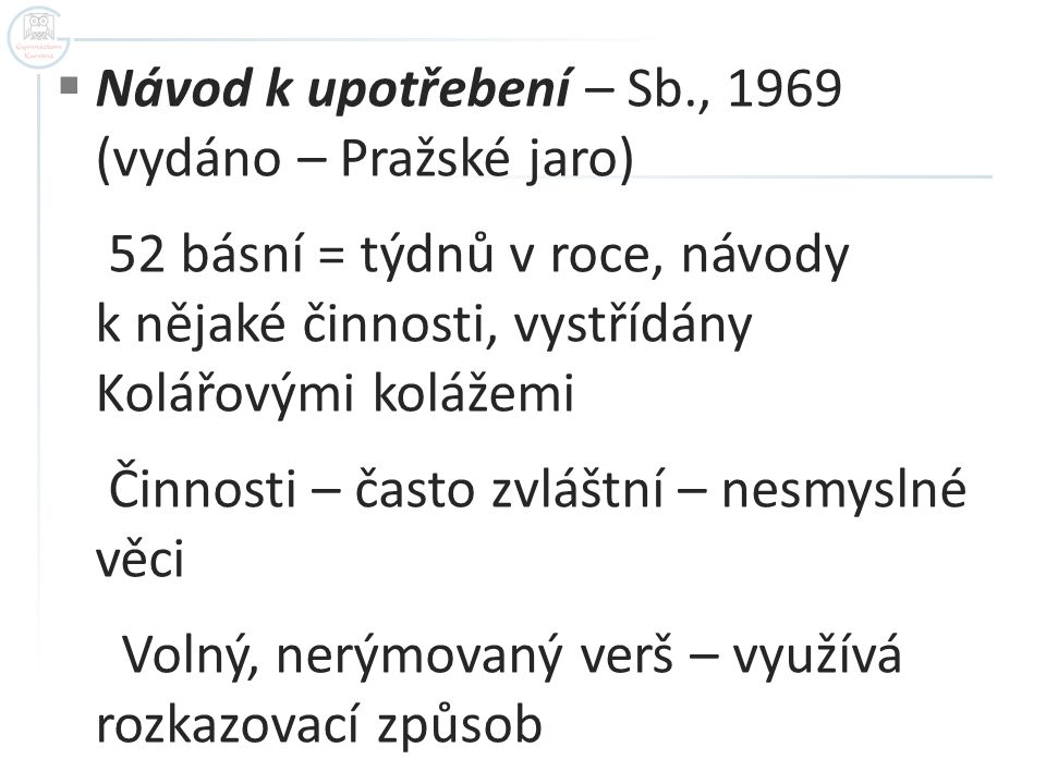 Návod k upotřebení – Sb., 1969 (vydáno – Pražské jaro)