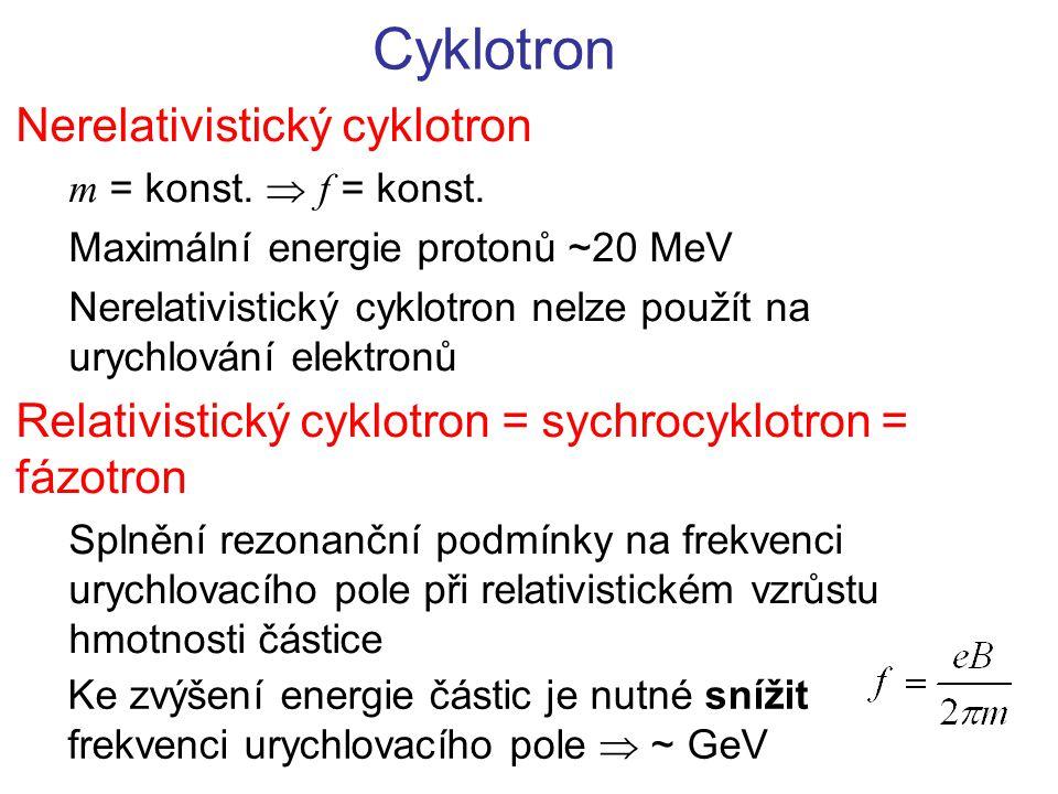 Cyklotron Nerelativistický cyklotron