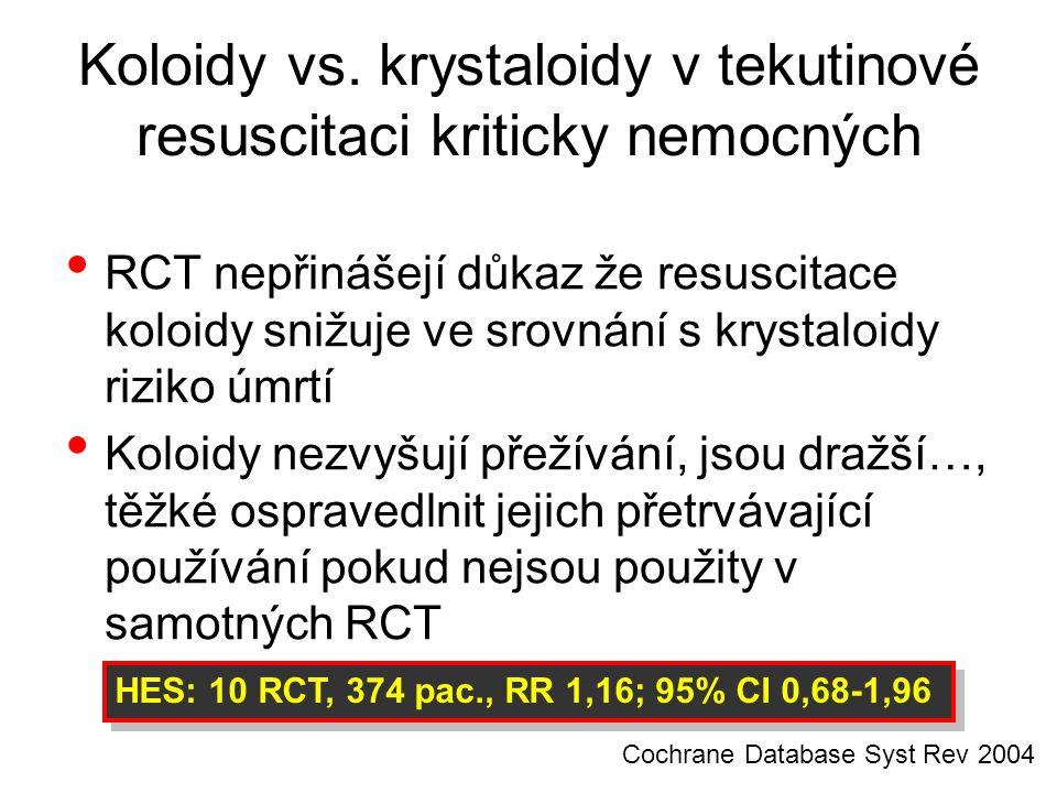Koloidy vs. krystaloidy v tekutinové resuscitaci kriticky nemocných