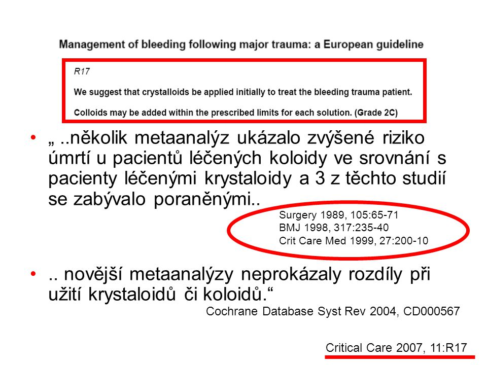 """"""" ..několik metaanalýz ukázalo zvýšené riziko úmrtí u pacientů léčených koloidy ve srovnání s pacienty léčenými krystaloidy a 3 z těchto studií se zabývalo poraněnými.."""