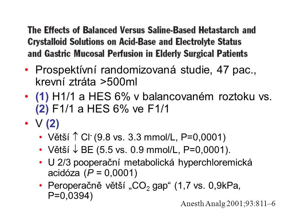 Prospektívní randomizovaná studie, 47 pac., krevní ztráta >500ml