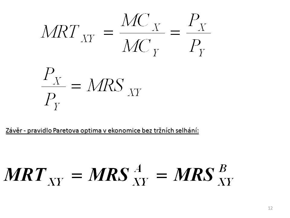 Závěr - pravidlo Paretova optima v ekonomice bez tržních selhání: