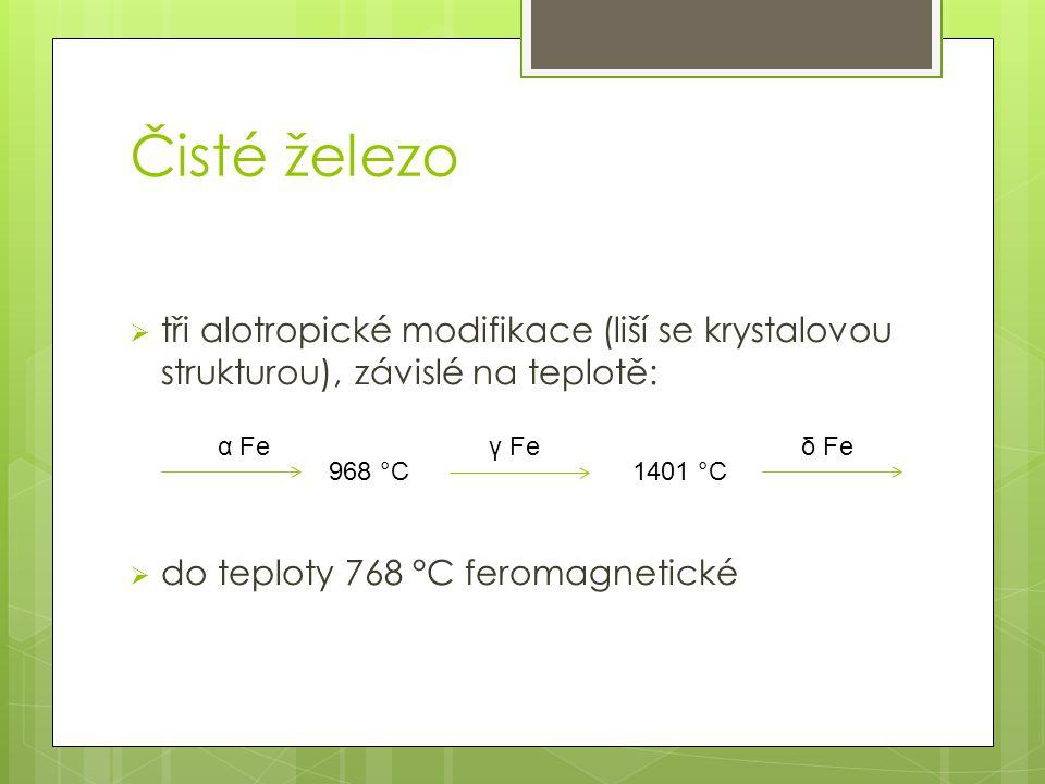 Čisté železo tři alotropické modifikace (liší se krystalovou strukturou), závislé na teplotě: do teploty 768 °C feromagnetické.