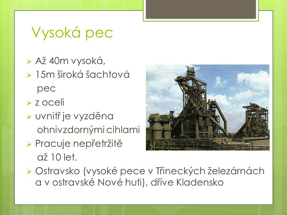 Vysoká pec Až 40m vysoká, 15m široká šachtová pec z oceli
