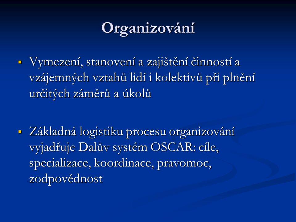 Organizování Vymezení, stanovení a zajištění činností a vzájemných vztahů lidí i kolektivů při plnění určitých záměrů a úkolů.