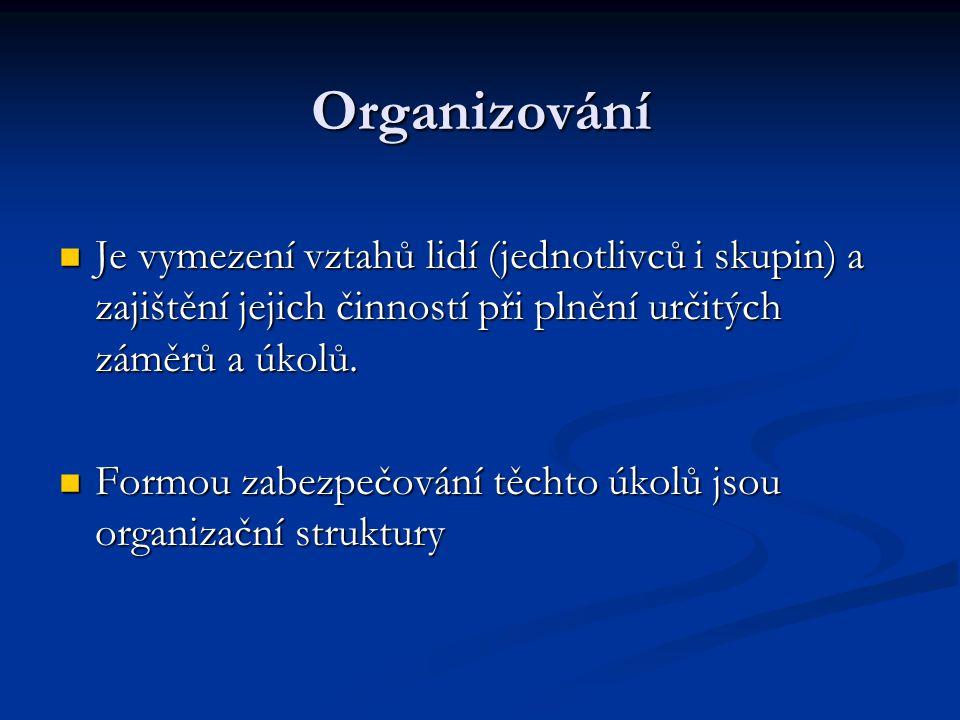 Organizování Je vymezení vztahů lidí (jednotlivců i skupin) a zajištění jejich činností při plnění určitých záměrů a úkolů.