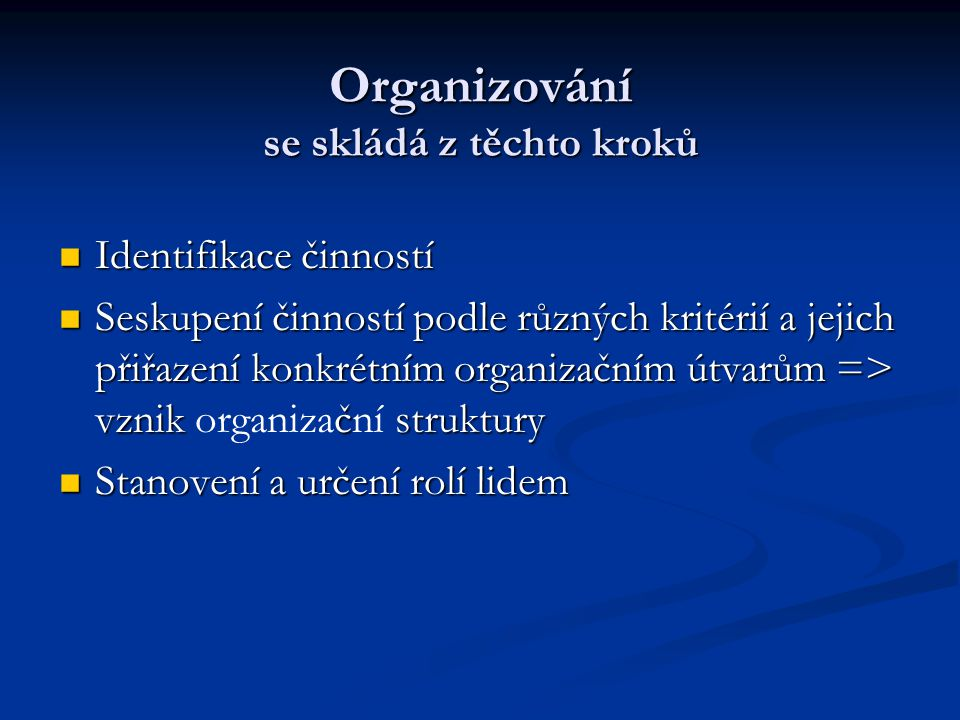 Organizování se skládá z těchto kroků
