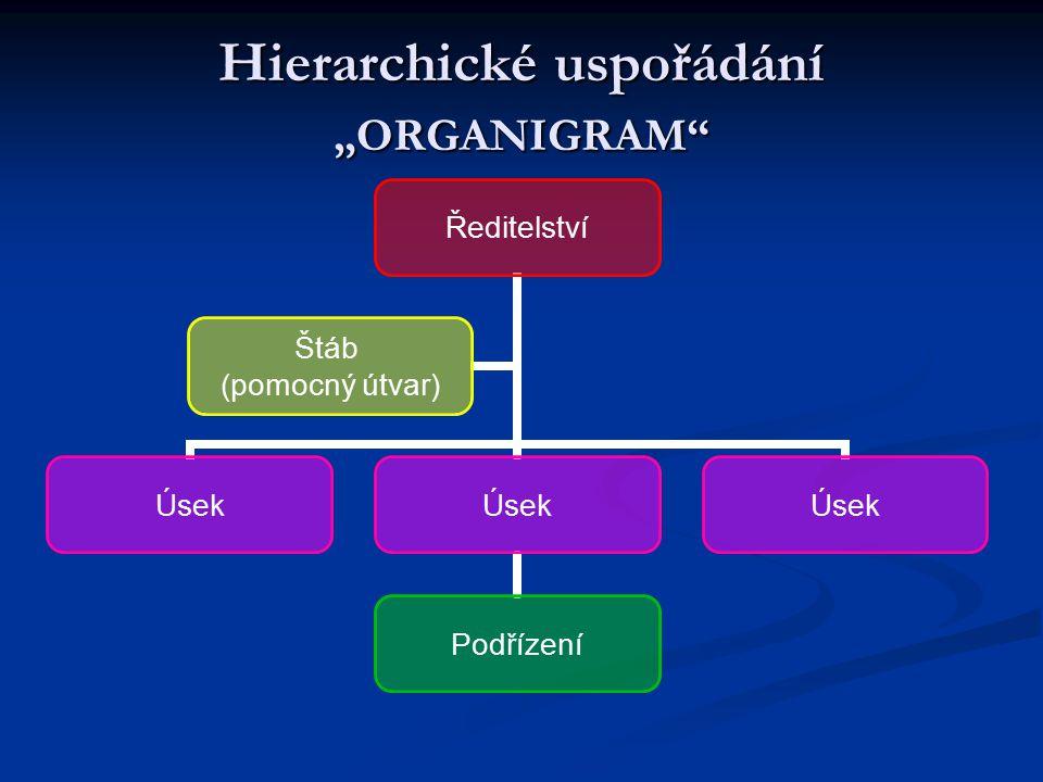 """Hierarchické uspořádání """"ORGANIGRAM"""