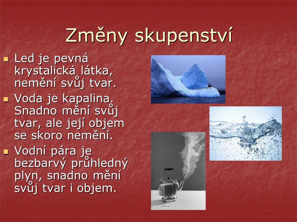 Změny skupenství Led je pevná krystalická látka, nemění svůj tvar.