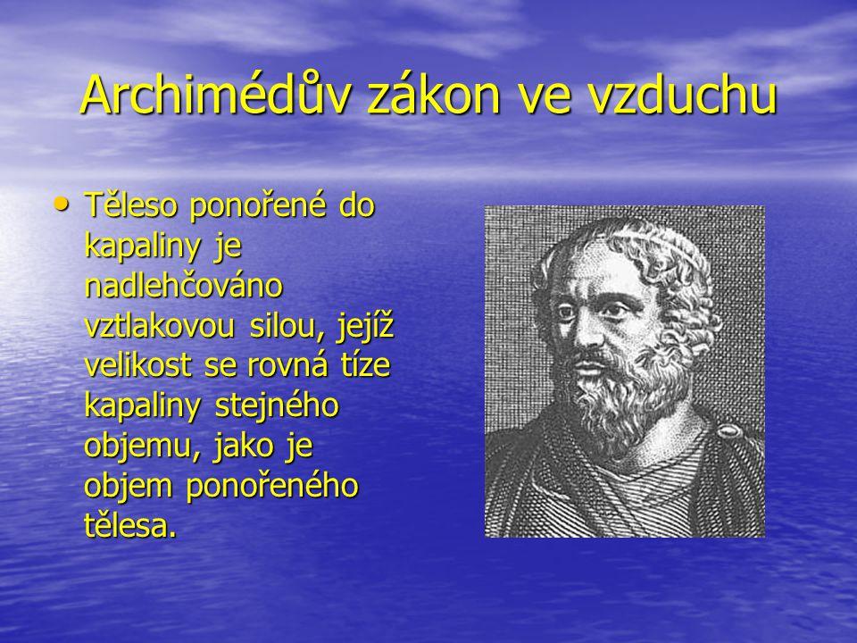Archimédův zákon ve vzduchu