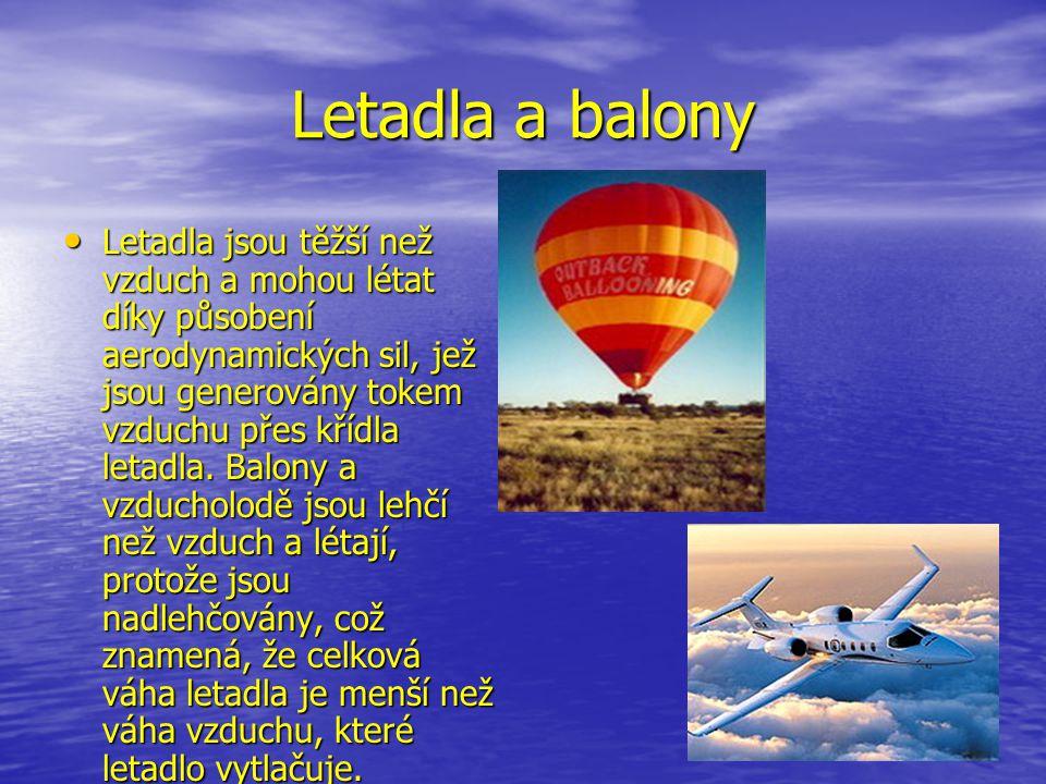 Letadla a balony