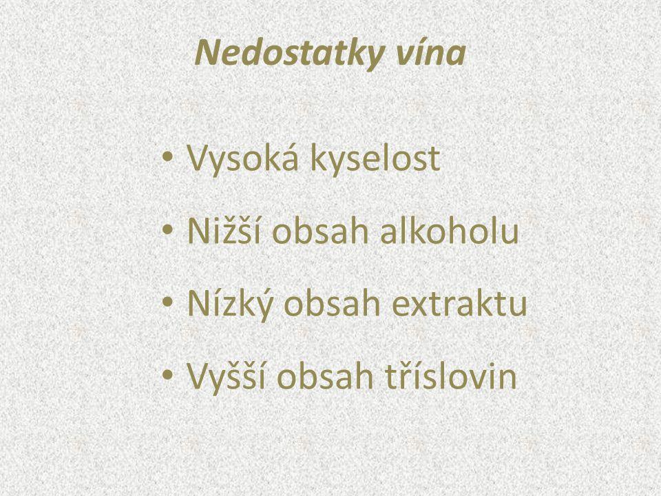 Nedostatky vína Vysoká kyselost Nižší obsah alkoholu Nízký obsah extraktu Vyšší obsah tříslovin