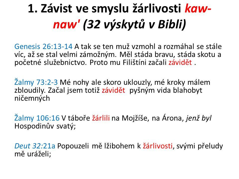 1. Závist ve smyslu žárlivosti kaw-naw (32 výskytů v Bibli)