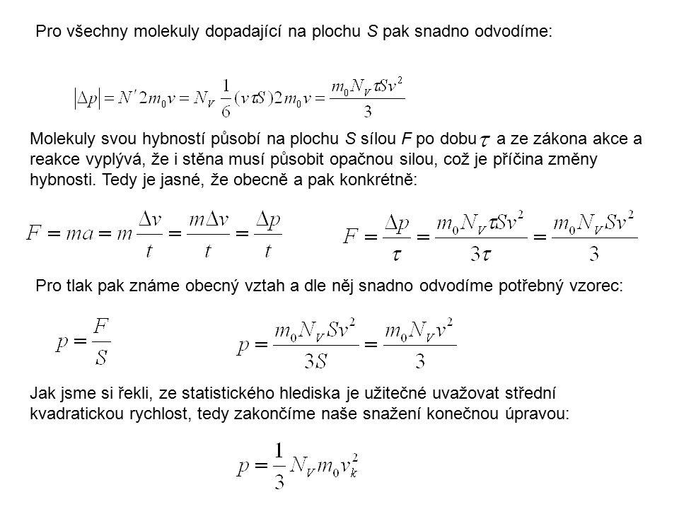 Pro všechny molekuly dopadající na plochu S pak snadno odvodíme: