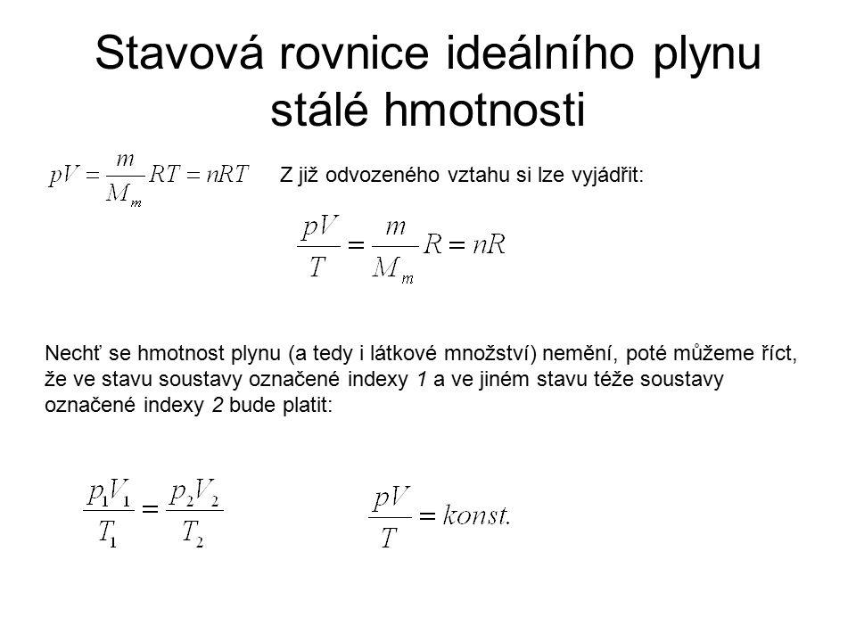 Stavová rovnice ideálního plynu stálé hmotnosti
