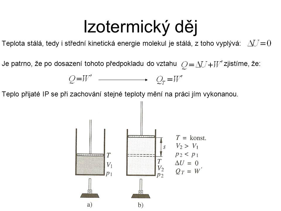 Izotermický děj Teplota stálá, tedy i střední kinetická energie molekul je stálá, z toho vyplývá: