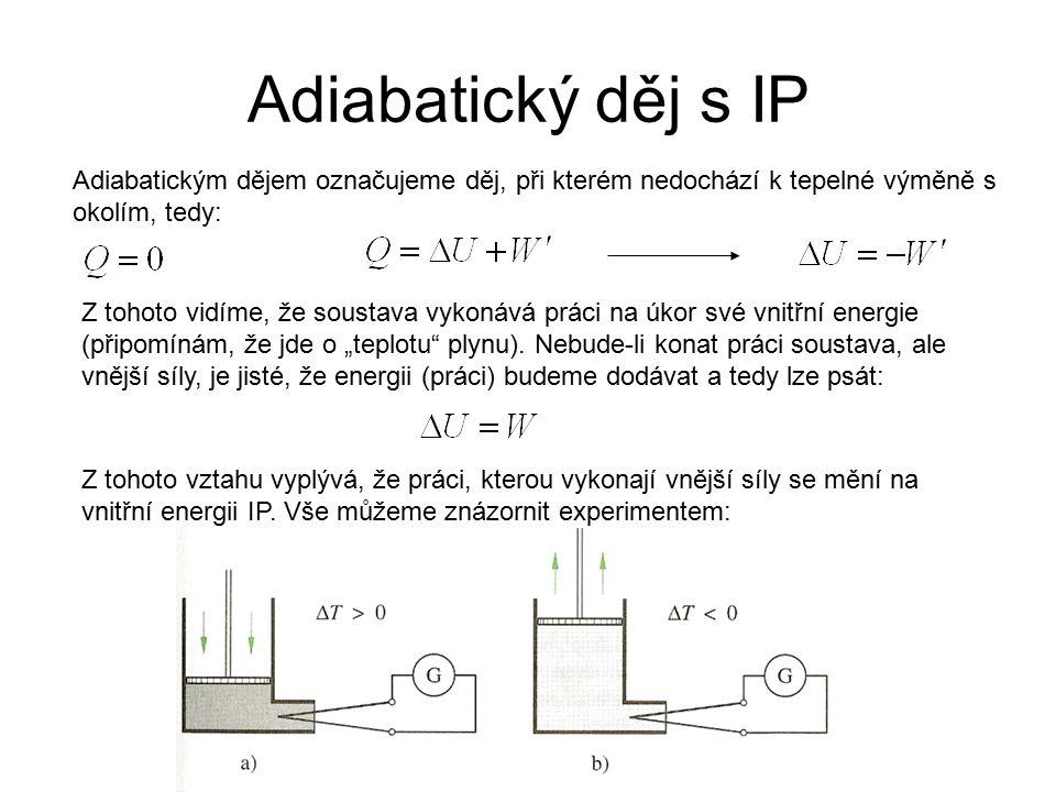 Adiabatický děj s IP Adiabatickým dějem označujeme děj, při kterém nedochází k tepelné výměně s okolím, tedy:
