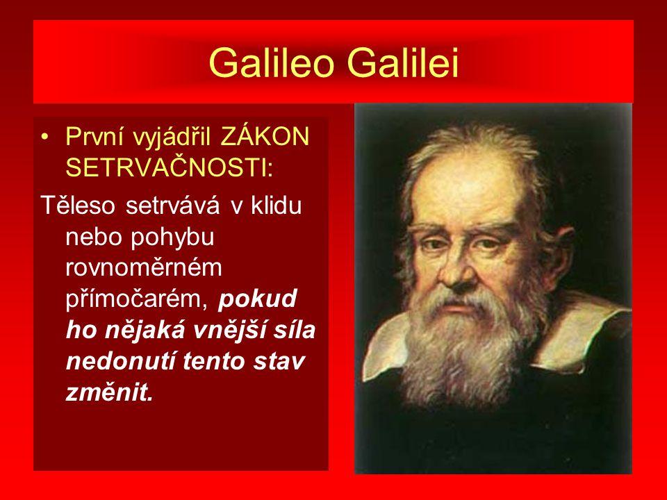 Galileo Galilei První vyjádřil ZÁKON SETRVAČNOSTI: