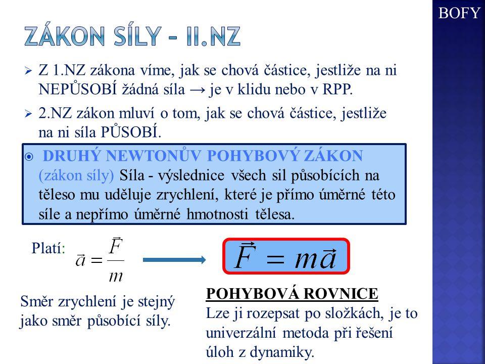 BOFY Zákon síly – II.NZ. Z 1.NZ zákona víme, jak se chová částice, jestliže na ni NEPŮSOBÍ žádná síla → je v klidu nebo v RPP.
