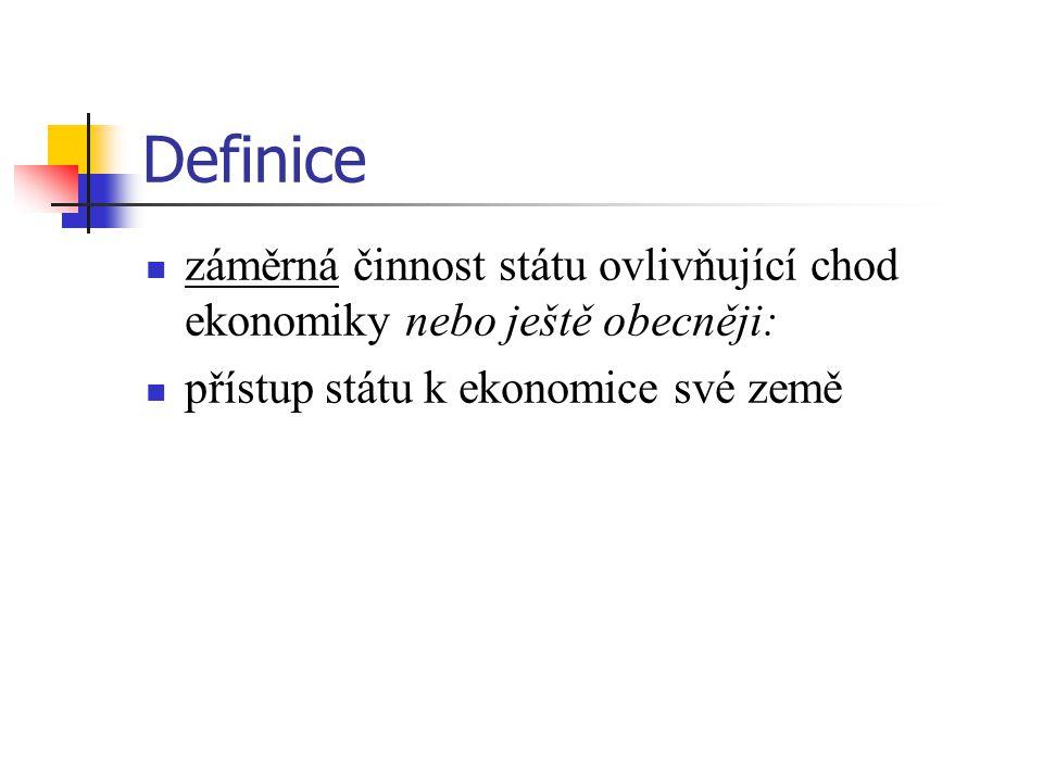 Definice záměrná činnost státu ovlivňující chod ekonomiky nebo ještě obecněji: přístup státu k ekonomice své země.