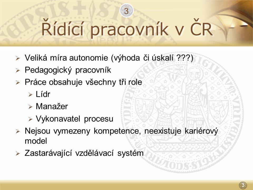 Řídící pracovník v ČR 3 Veliká míra autonomie (výhoda či úskalí )