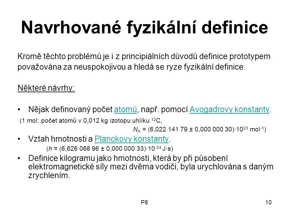 Navrhované fyzikální definice
