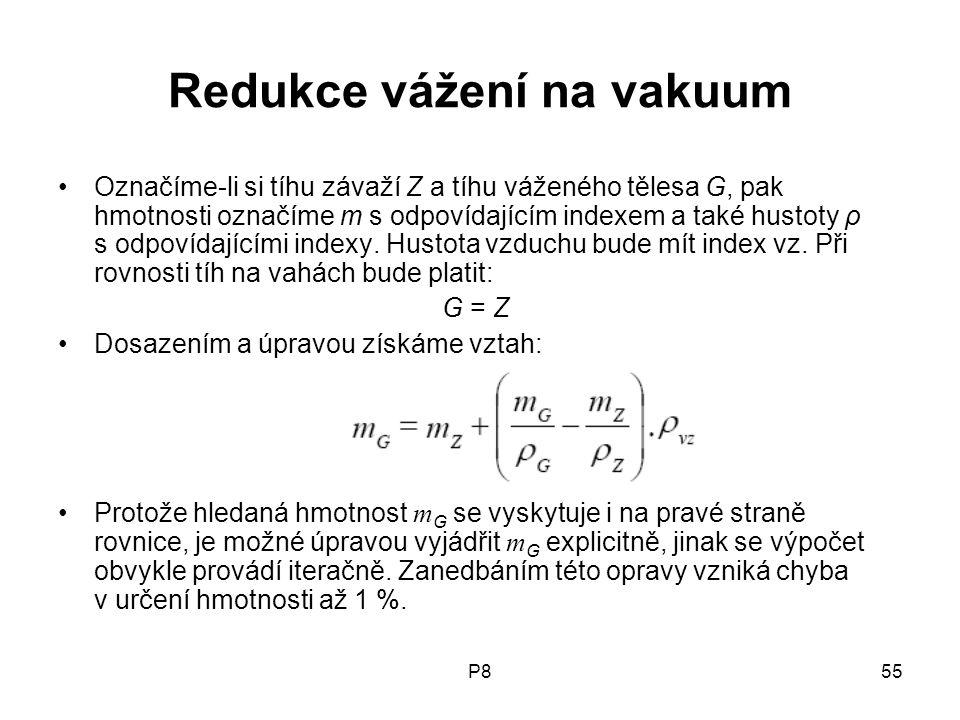 Redukce vážení na vakuum