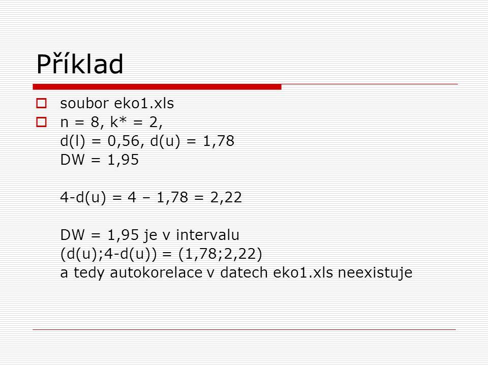 Příklad soubor eko1.xls n = 8, k* = 2, d(l) = 0,56, d(u) = 1,78