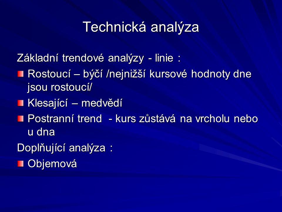 Technická analýza Základní trendové analýzy - linie :