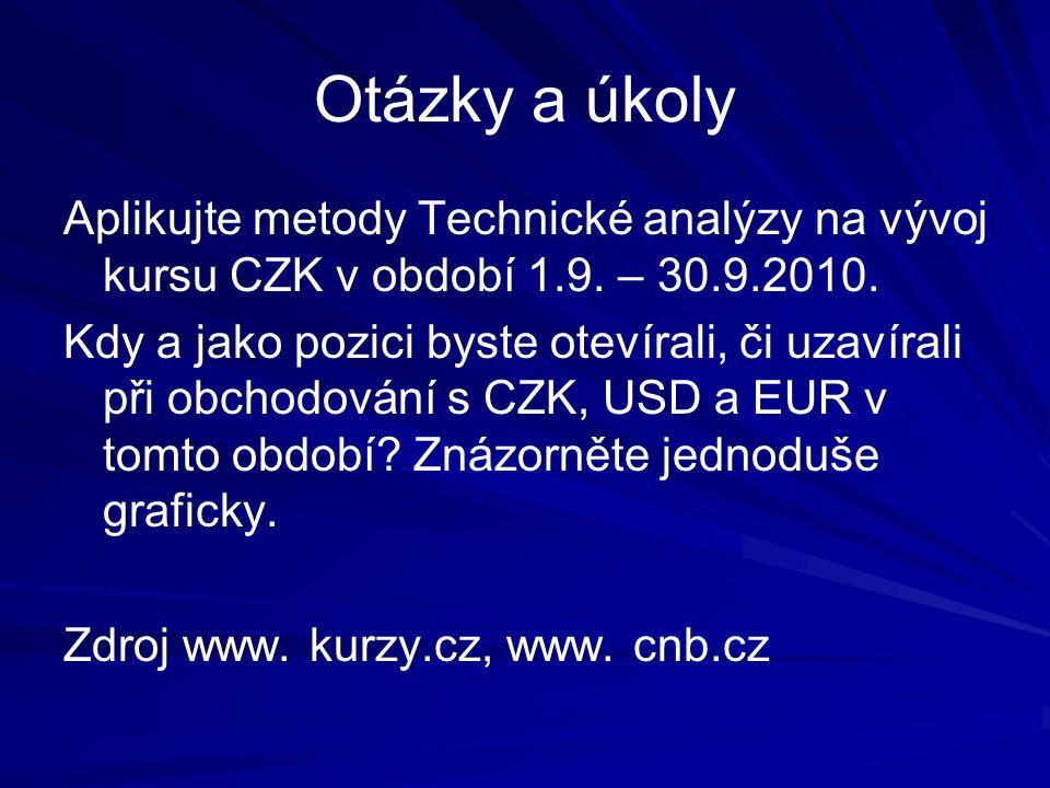 Otázky a úkoly Aplikujte metody Technické analýzy na vývoj kursu CZK v období 1.9. – 30.9.2010.
