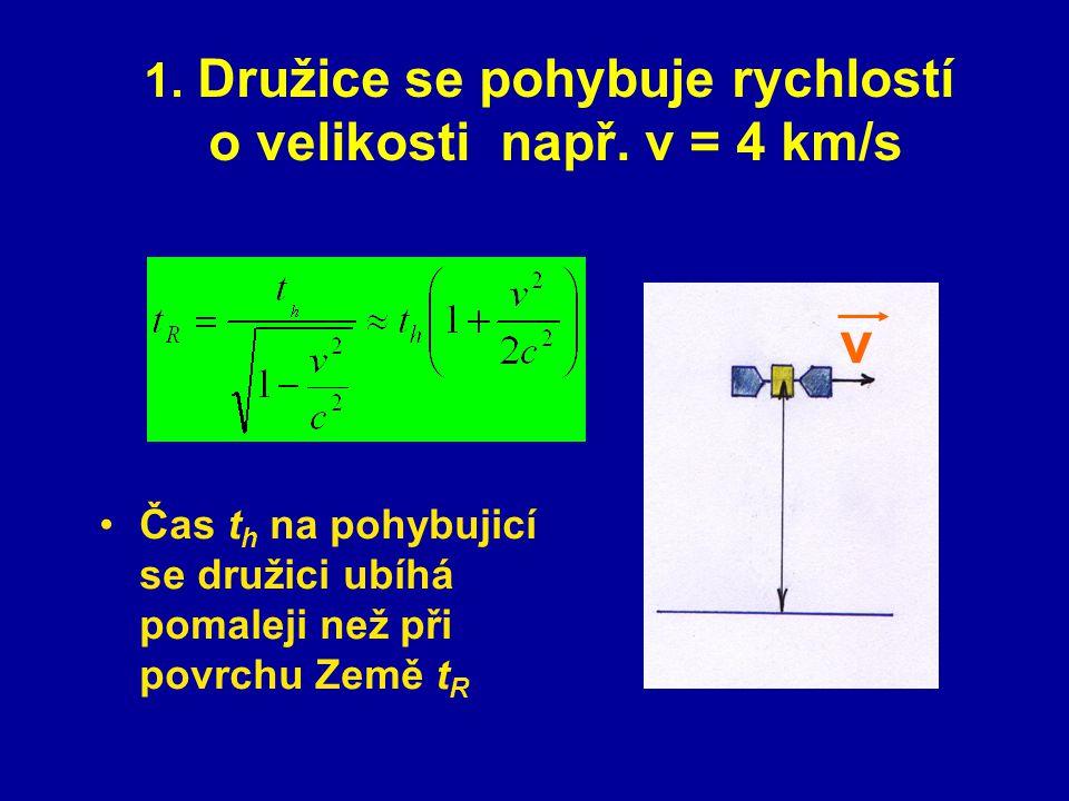 Družice se pohybuje rychlostí o velikosti např. v = 4 km/s