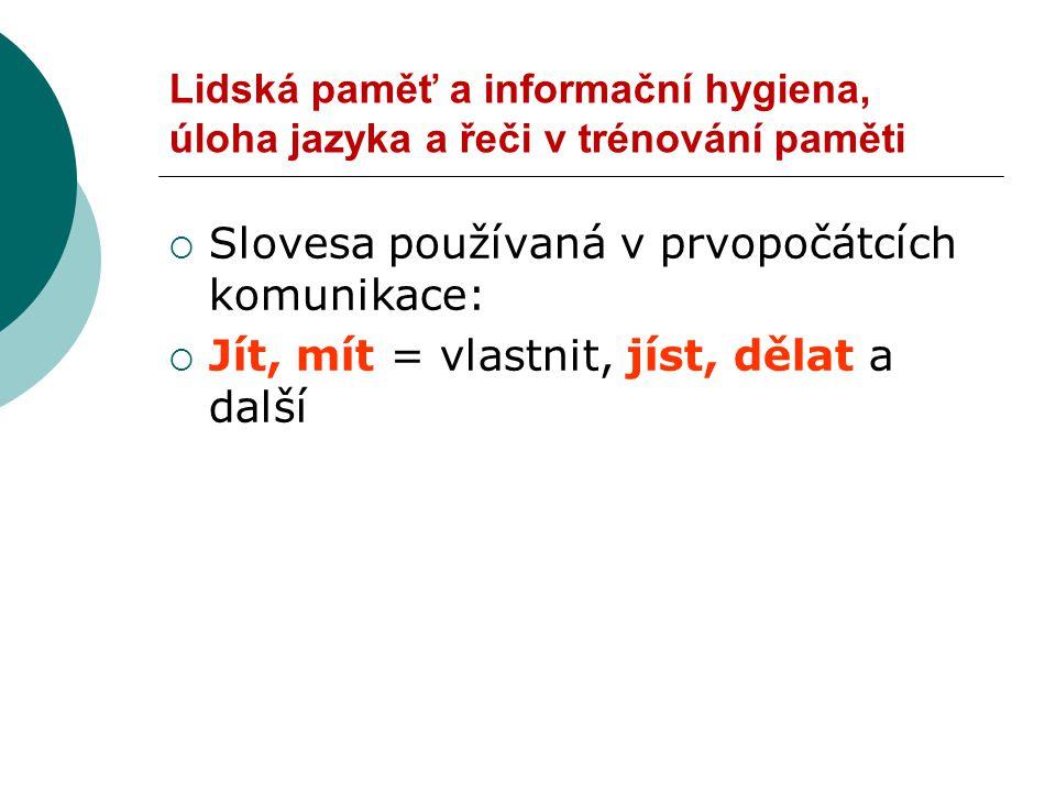 Slovesa používaná v prvopočátcích komunikace: