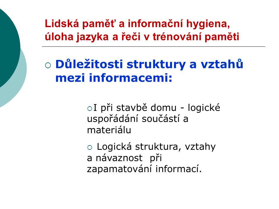 Důležitosti struktury a vztahů mezi informacemi: