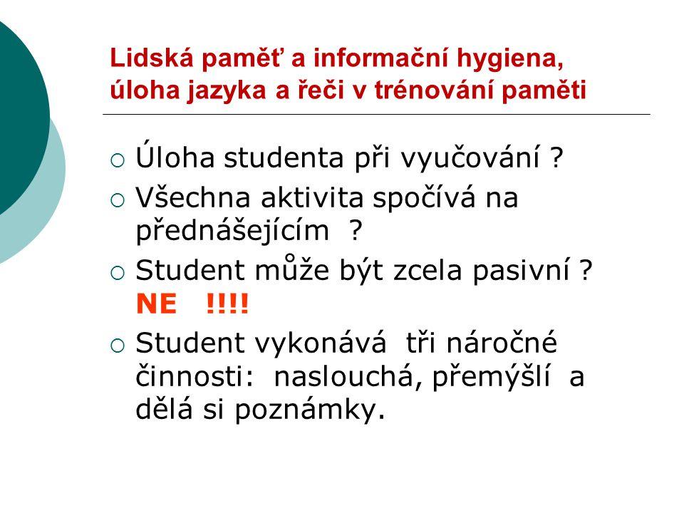 Úloha studenta při vyučování