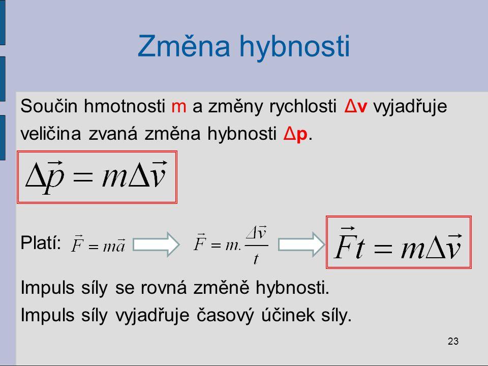 Změna hybnosti Součin hmotnosti m a změny rychlosti Δv vyjadřuje