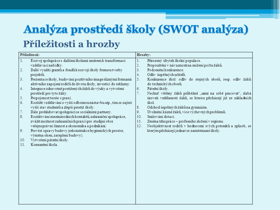 Analýza prostředí školy (SWOT analýza)